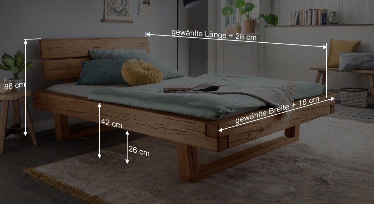 Bemaßungsgrafik zum Bett Rigolato