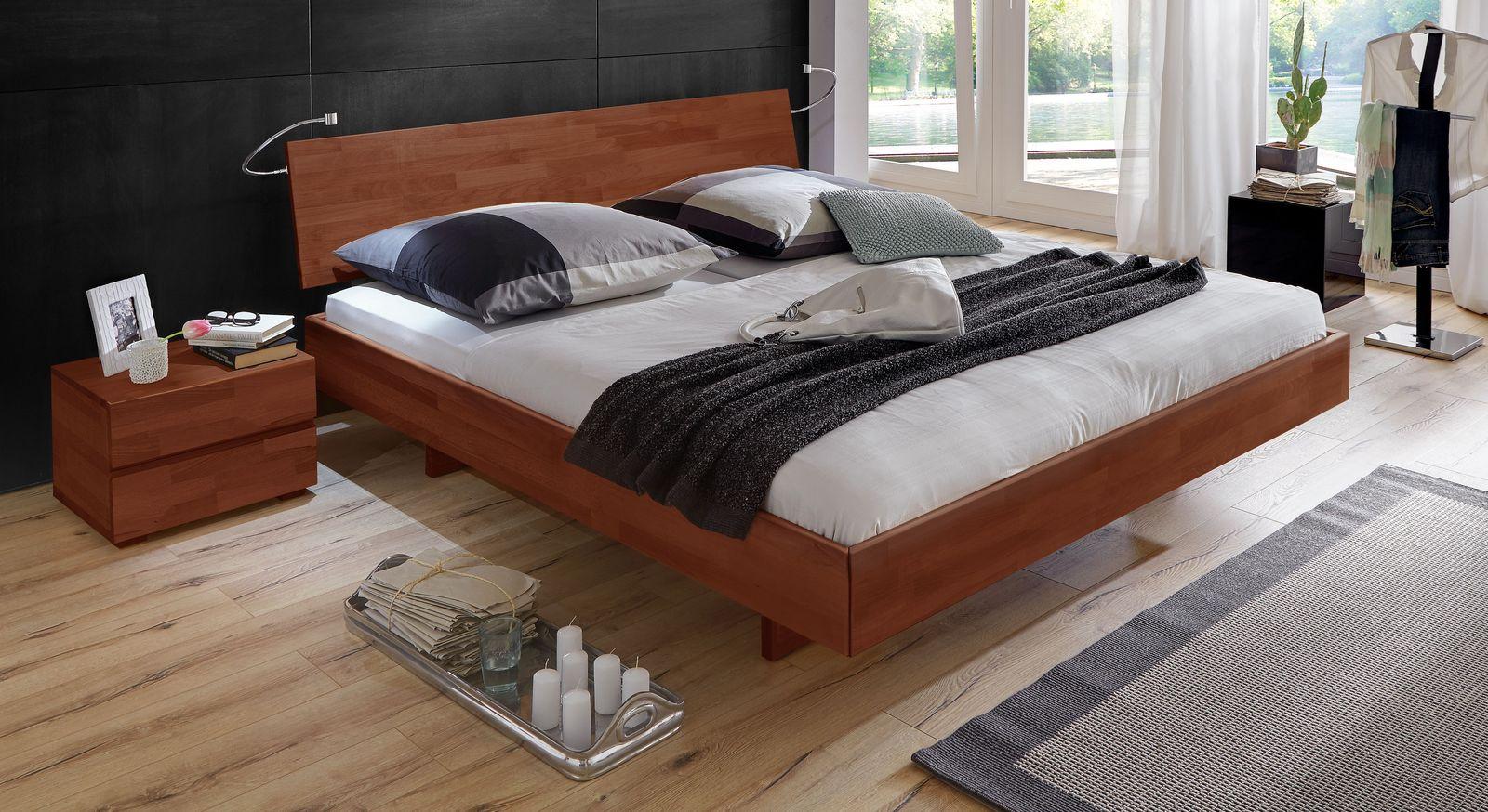 Kirschbaumfarbenes Bett Rimini mit 38 cm Rahmenhöhe