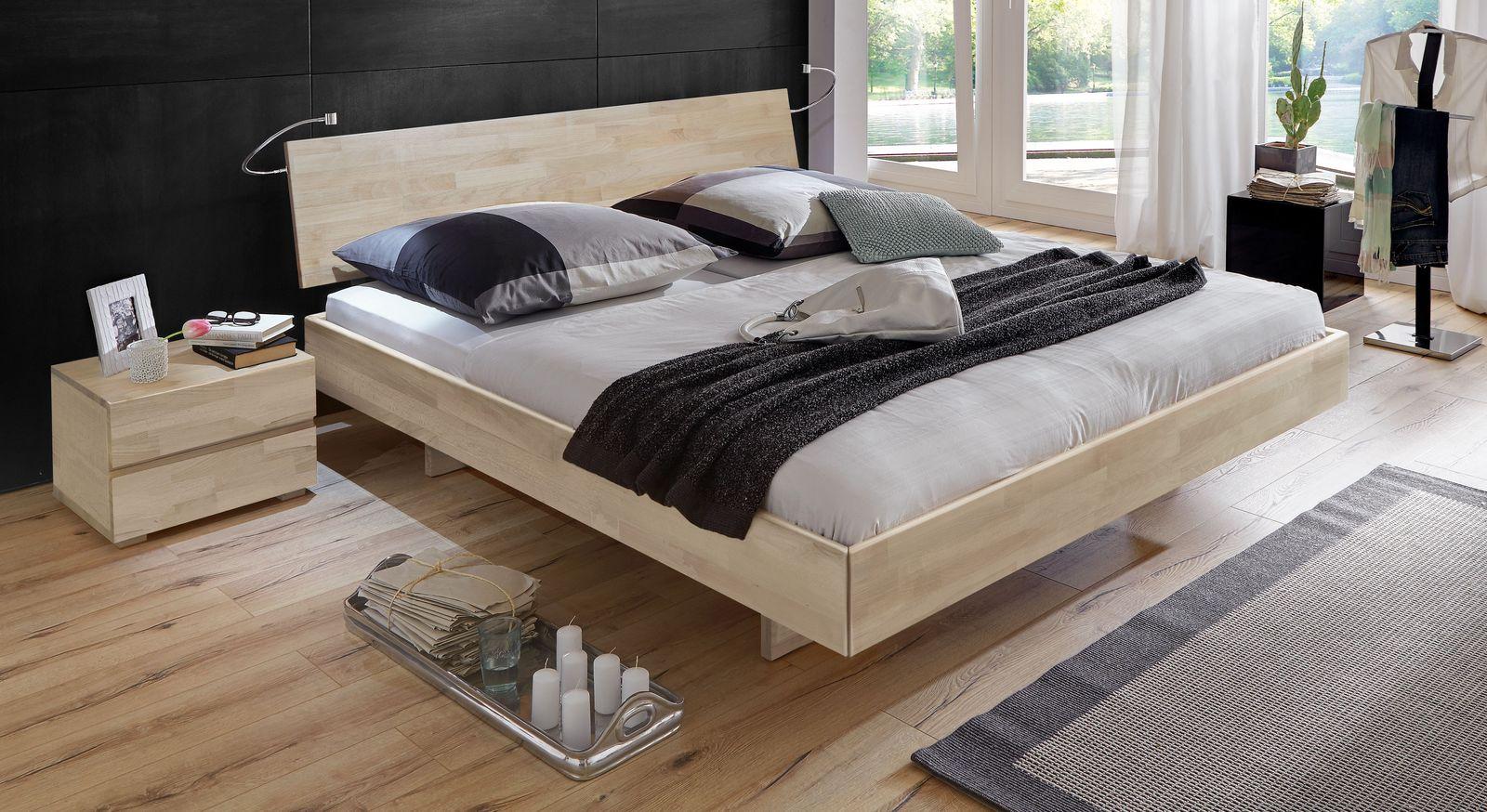 Weißes Bett Rimini mit 38 cm Rahmenhöhe