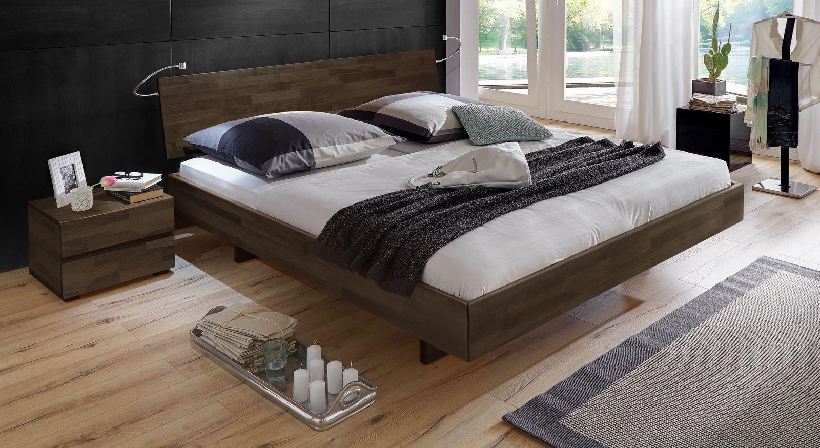 Wengefarbenes Bett Rimini mit 38 cm Rahmenhöhe