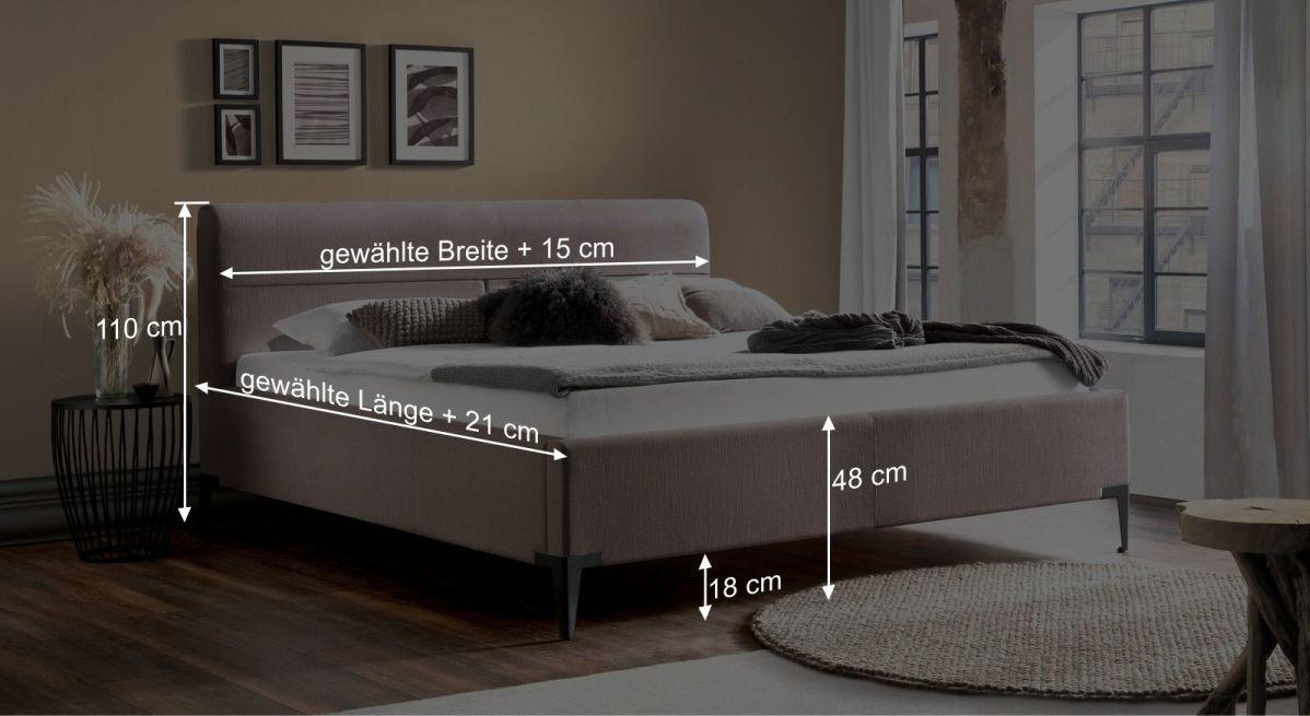 Bemaßungsgrafik vom Bett Ronea