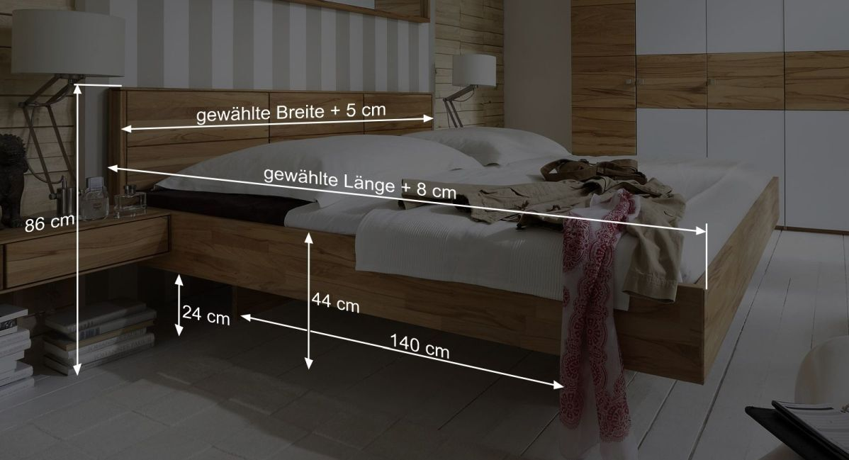 Bemaßungsgrafik zum Bett Rosso