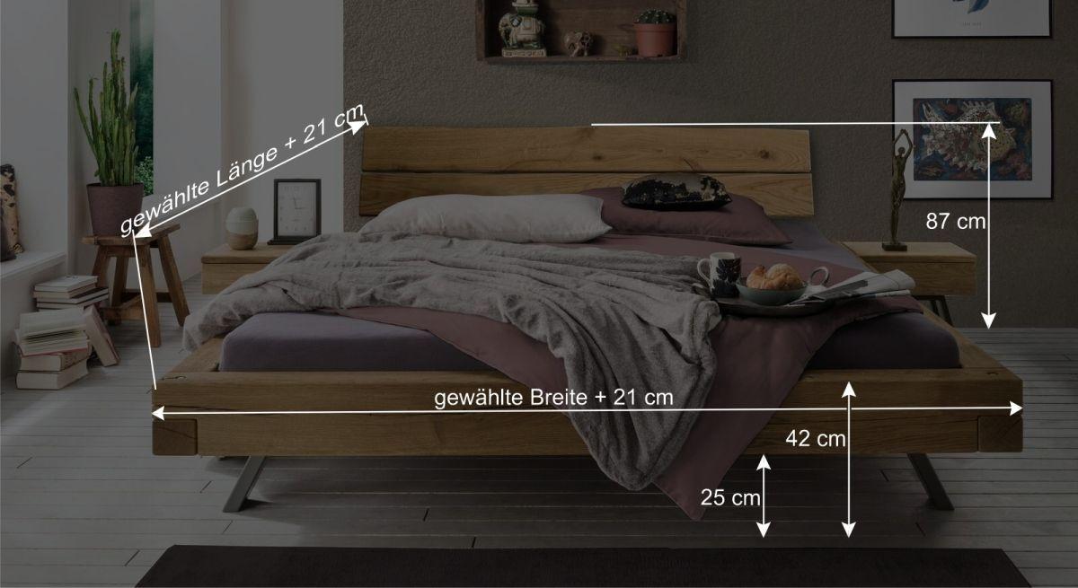 Bemaßungsgrafik zum Bett Rune