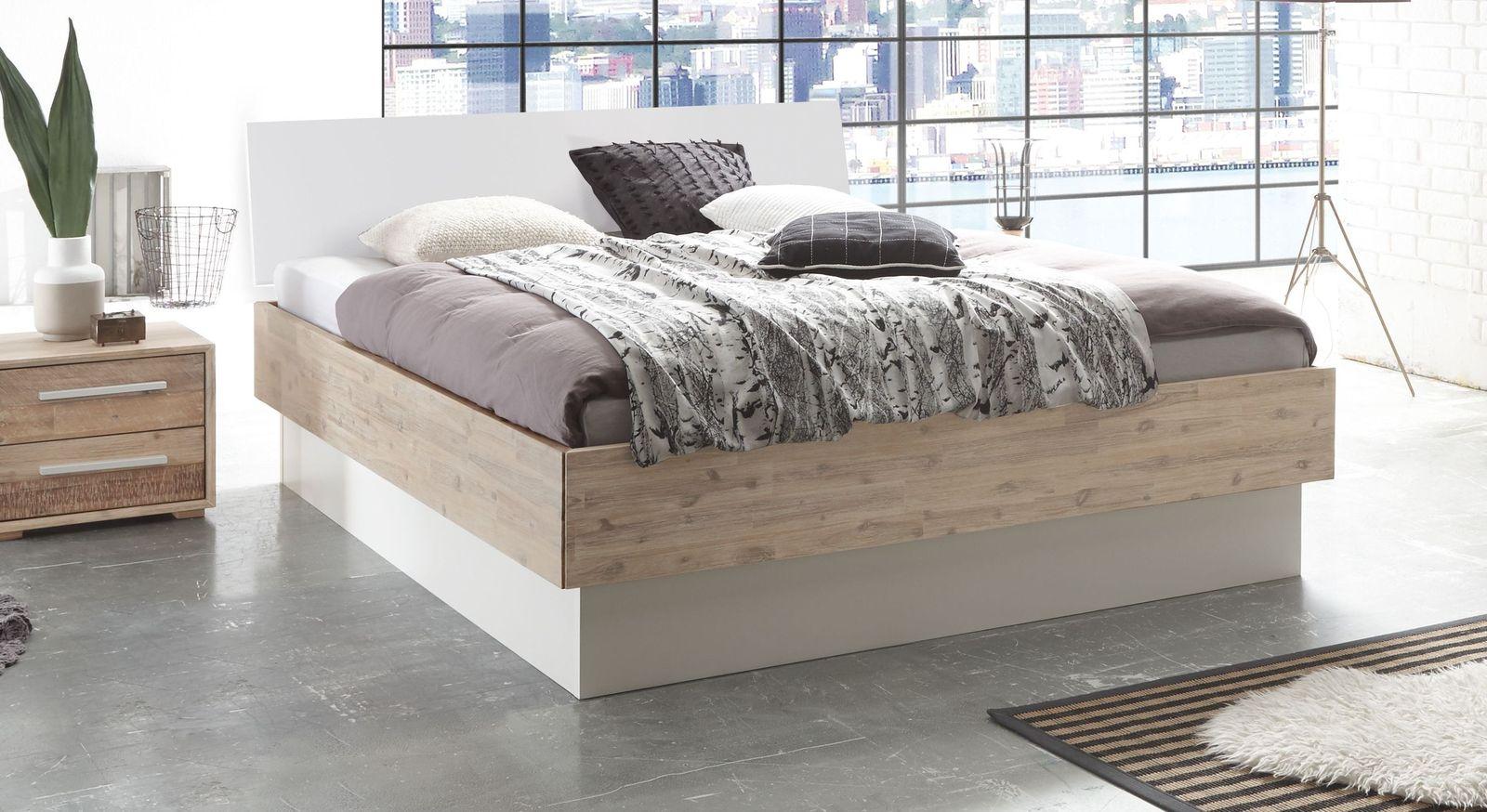 Bettkasten-Bett aus Akazienholz mit weißem Kopfteil - Rusko