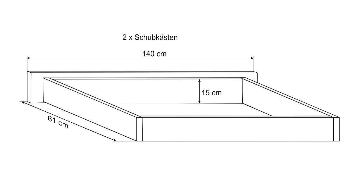 Bemaßungs-Skizze des Bettschubkastens Trikomo