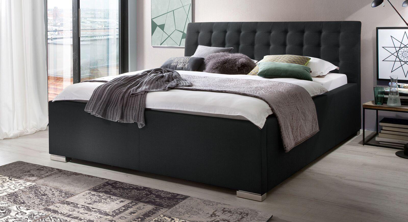 Bett Setiara mit schwarzem Stoffbezug