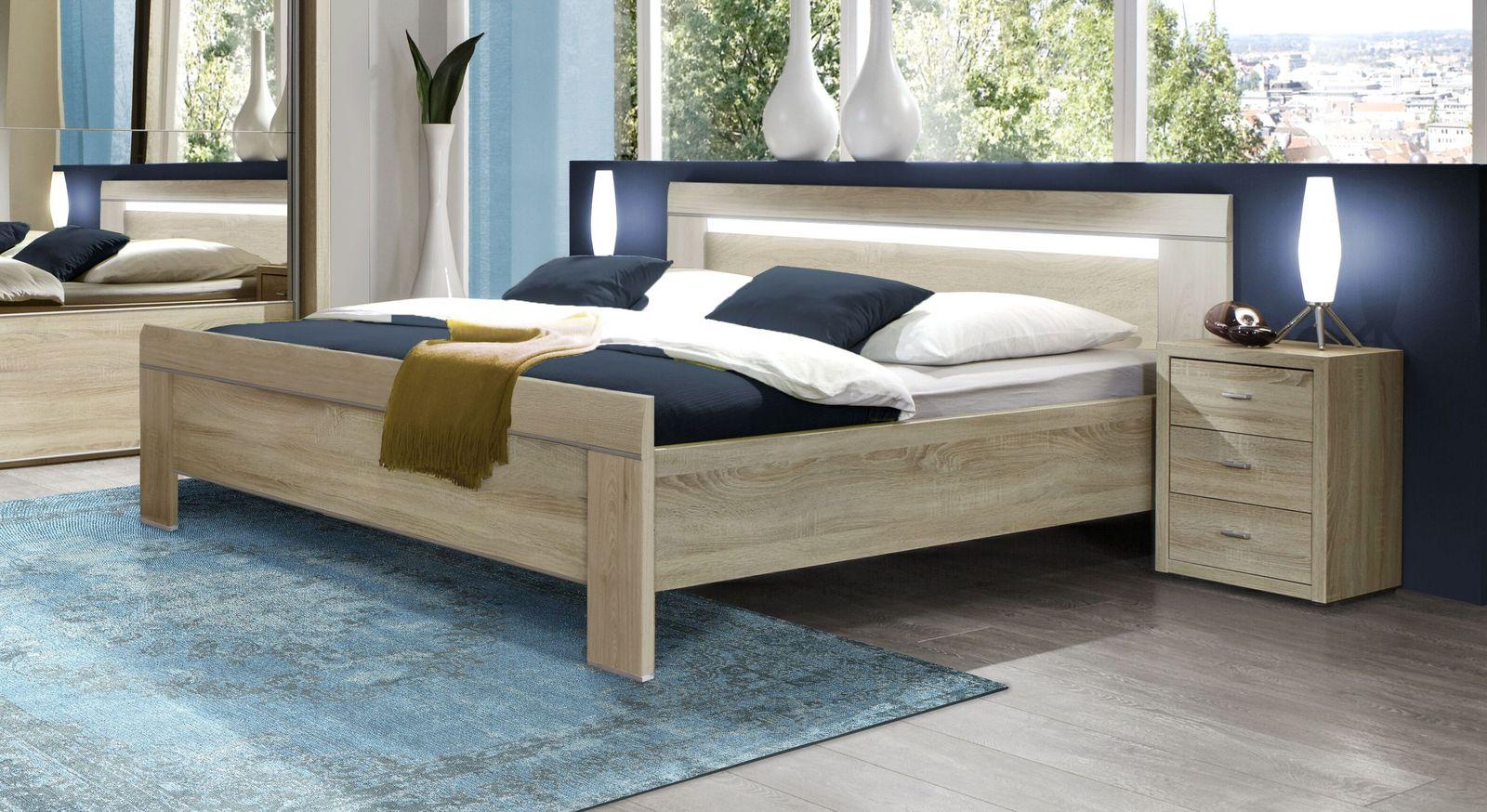 Geradliniges Komforthöhe Bett In Eiche Sägerau Dekor Seymour