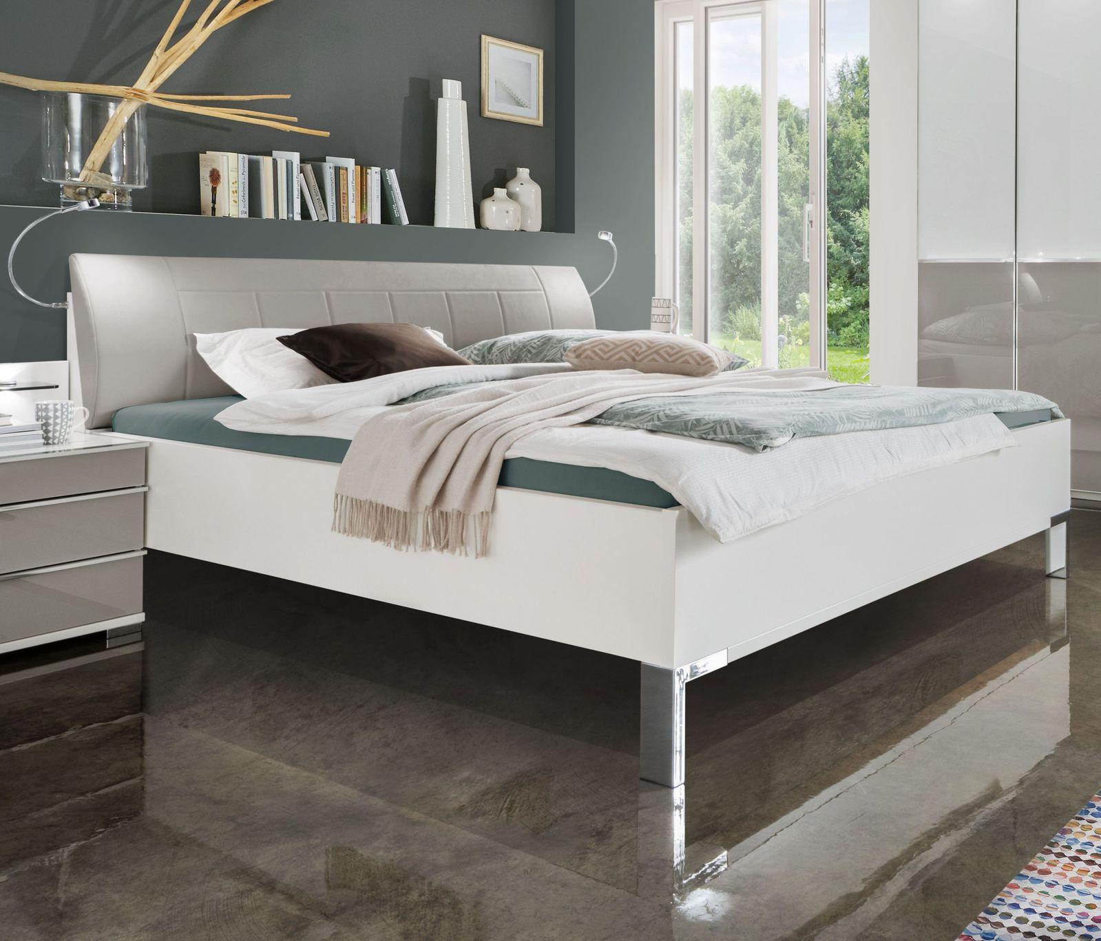 bett in wei mit kunstleder kopfteil und schubk sten shanvalley. Black Bedroom Furniture Sets. Home Design Ideas