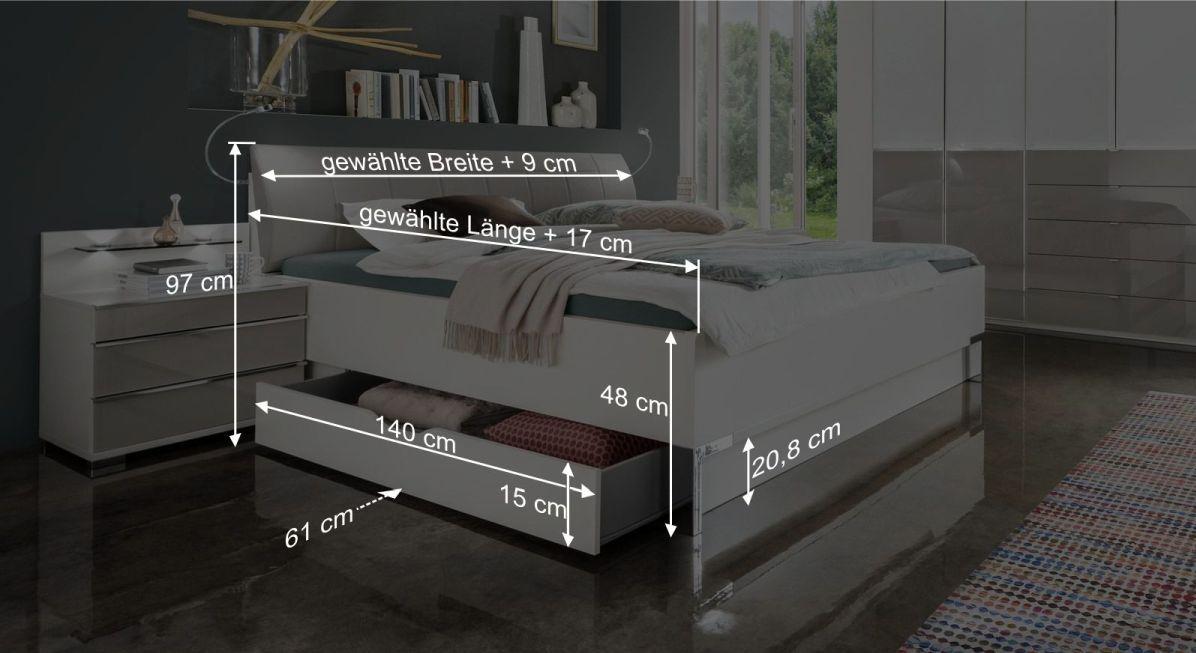 Maßgrafik zum Bett Shanvalley