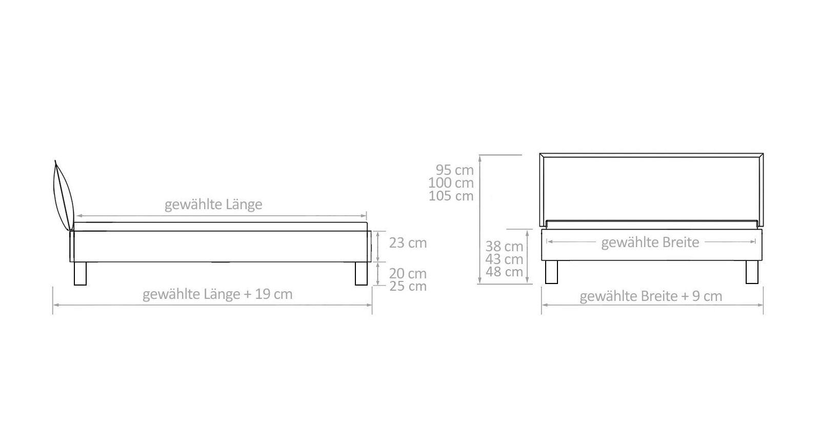 Maß-Grafik zum Bett Solidea