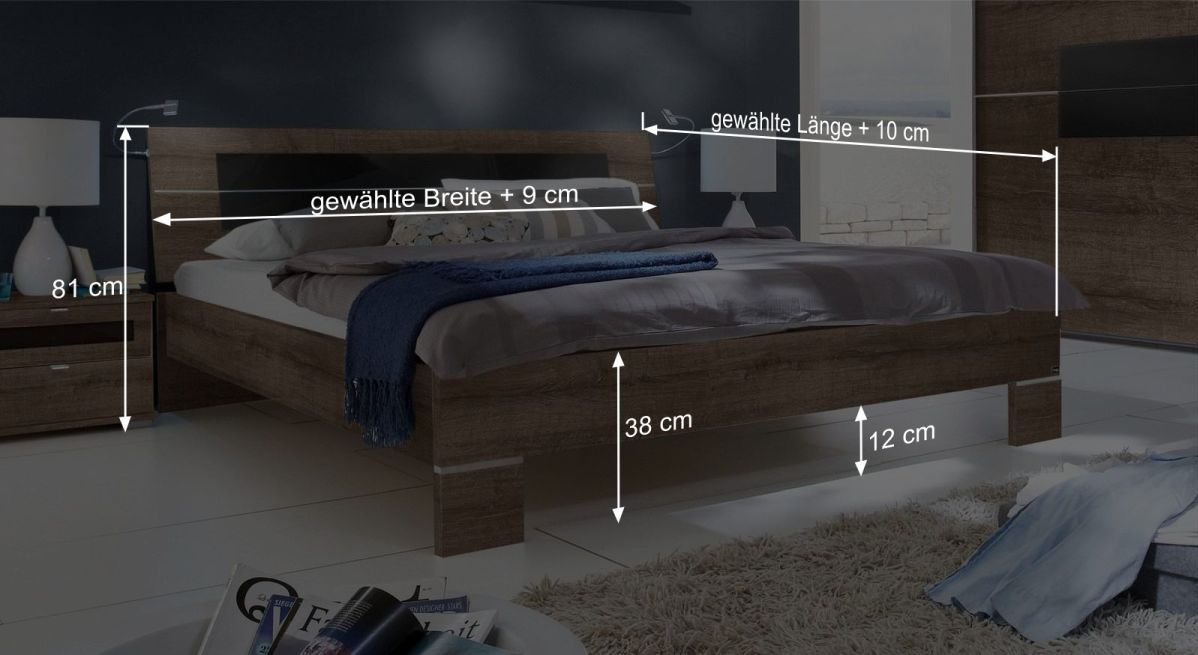 Bett Suranos Bemaßungsgrafik