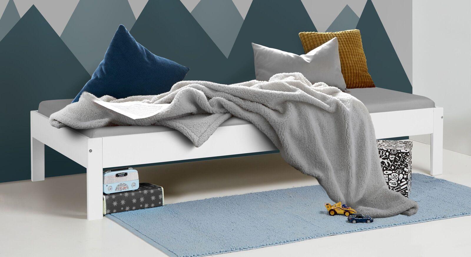 Bett Tacora aus weiß lackiertem MDF