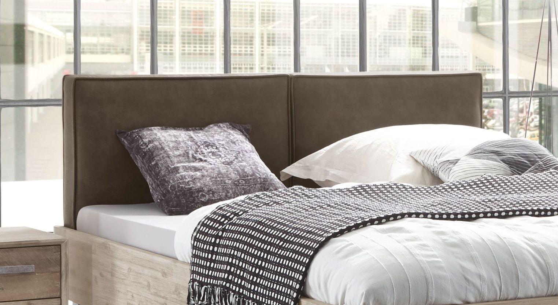 Bett Tampere mit zweigeteiltem Kunstleder-Kopfteil
