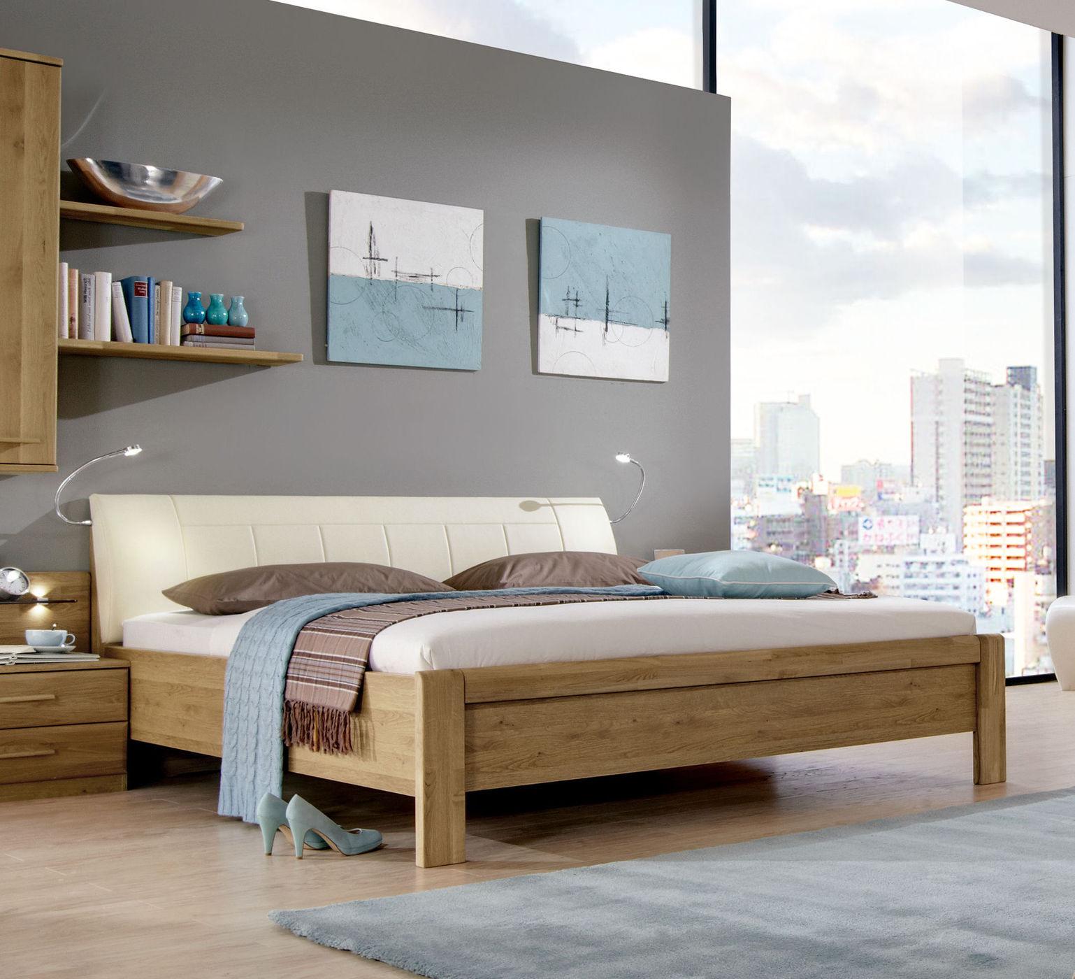 Doppelbett aus Eiche mit Kopfteil in Kunstleder magnolie - Taras