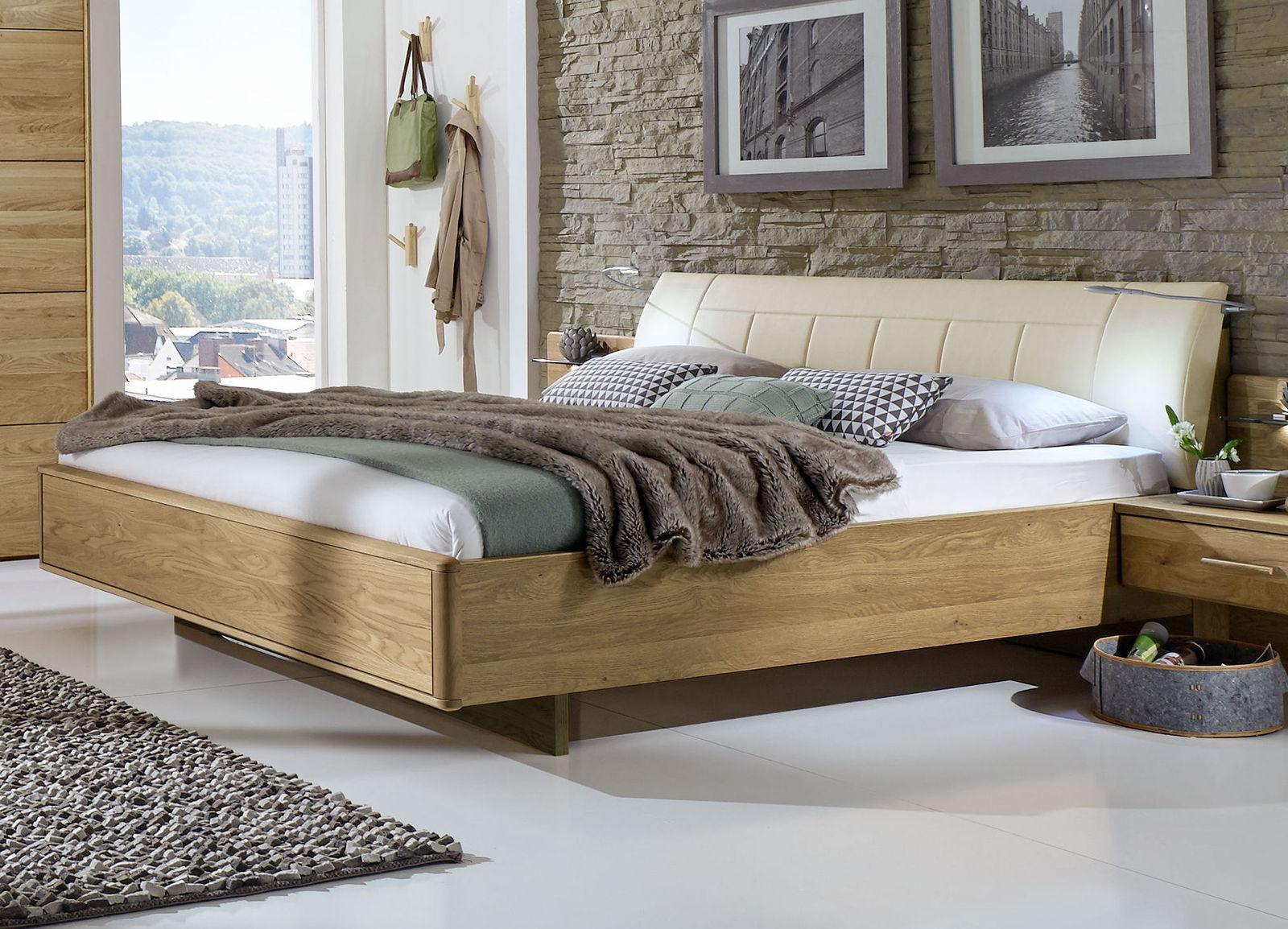 Doppelbett schwebend mit gepolstertem Kunstleder-Kopfteil - Temir