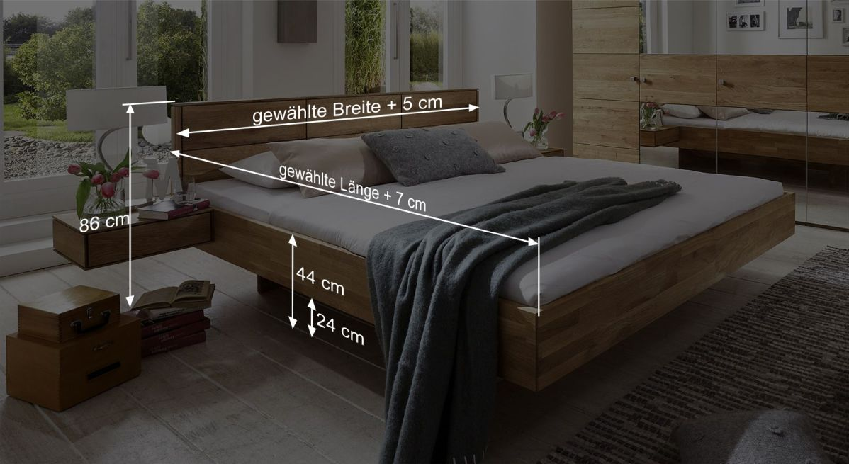 Bett Terranos Bemaßungsgrafik