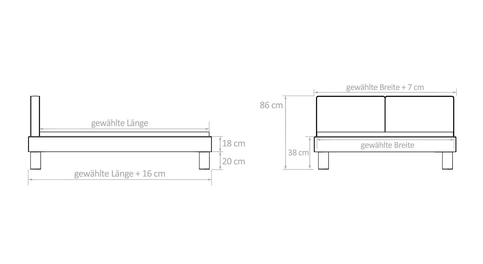 Bett Tiago mit Bemaßungs-Grafik