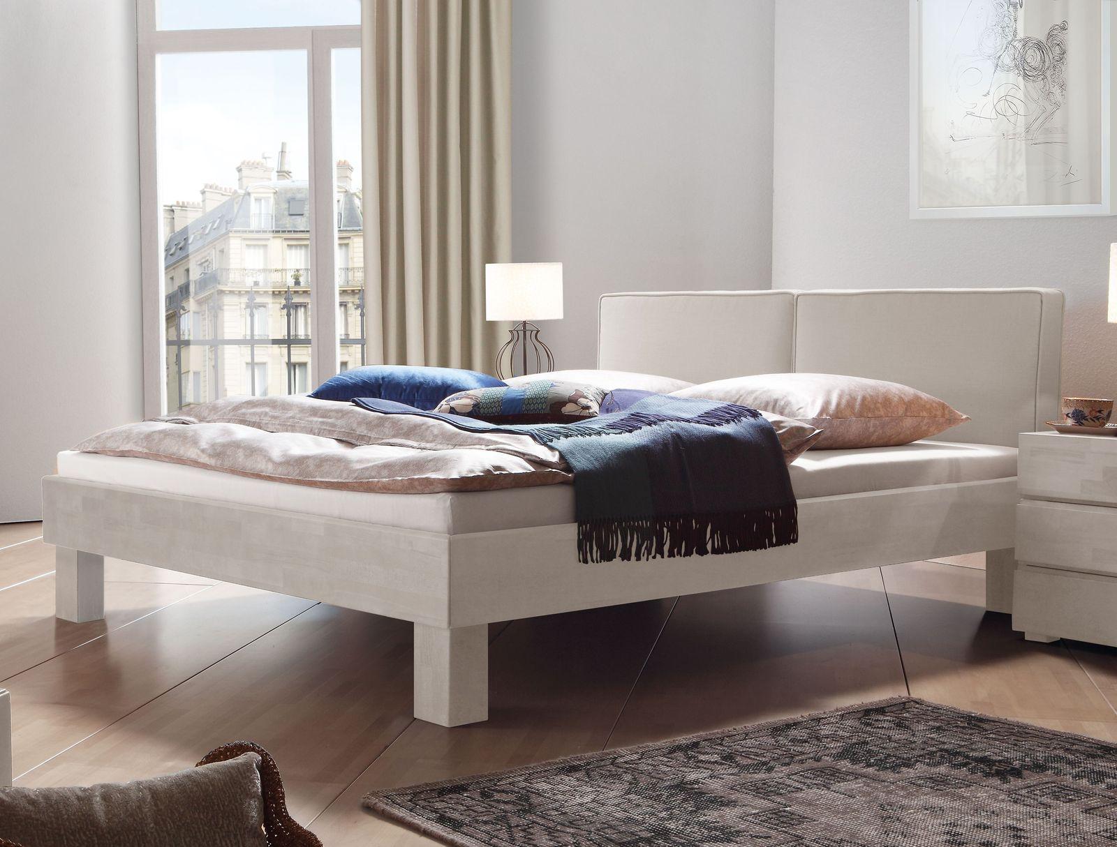 Doppelbett Massivholz mit Kopfteil in meliertem Webstoff - Tiago
