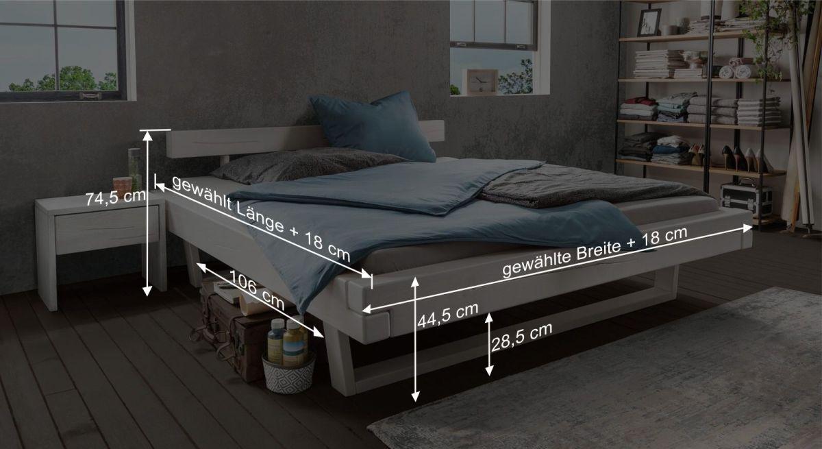 Bemaßungsgrafik zum Bett Tiaki