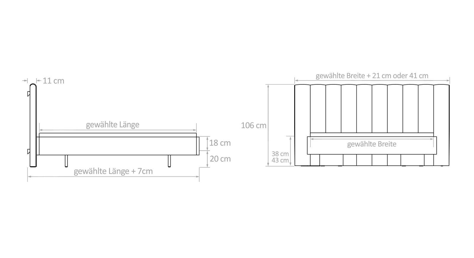 Bett Timaru mit Bemaßungs-Grafik