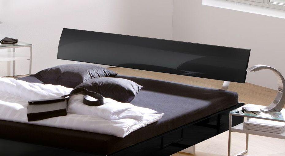 Elegantes Bett Timeless in Schwarz Hochglanz
