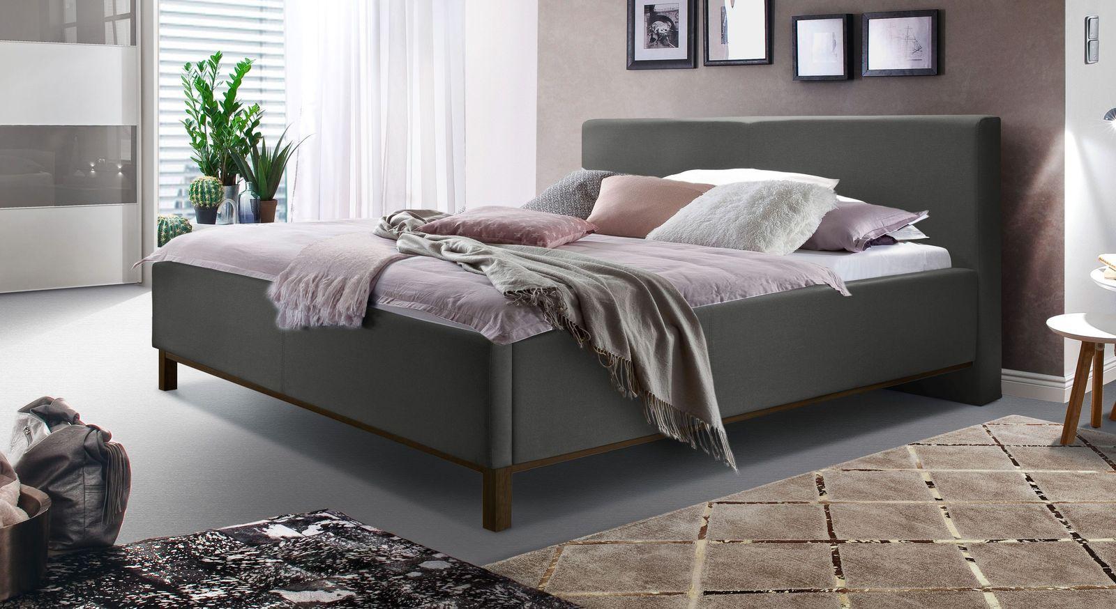 Anthrazitfarbenes Bett Tranquilo mit wengefarbenen Füßen