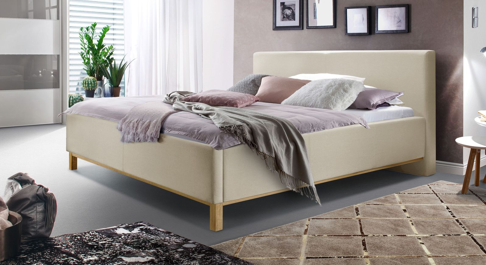 Bett Tranquilo aus feinem Webstoff in Beige