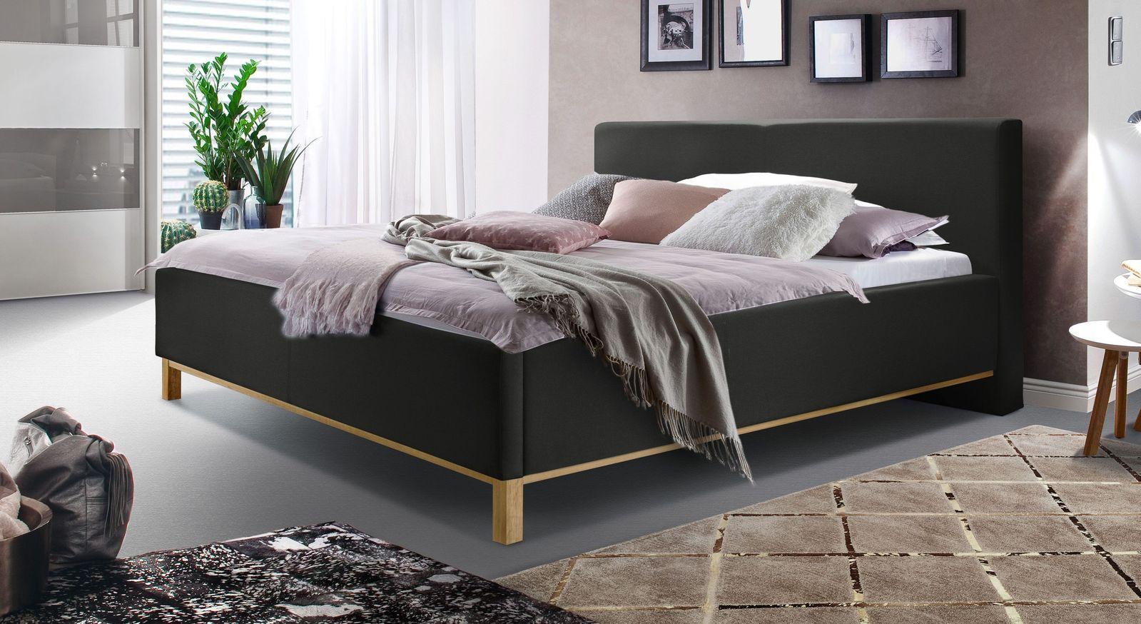 Bett Tranquilo aus feinem Webstoff in Schwarz