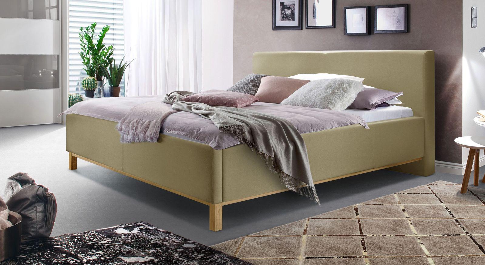 Bett Tranquilo aus feinem Webstoff in Taupe