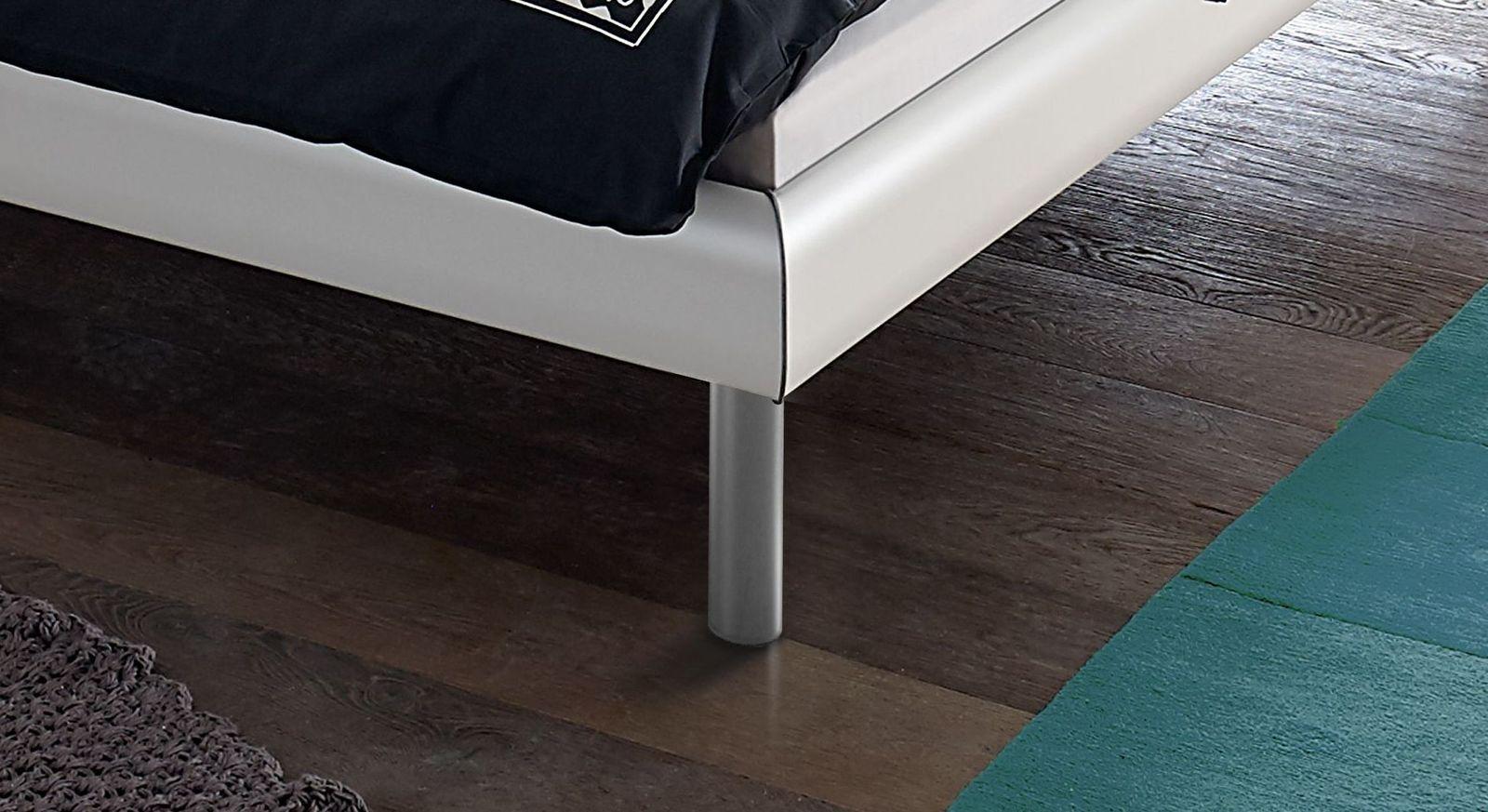 Bett Trentino mit runden alufarbenen Bettbeinen