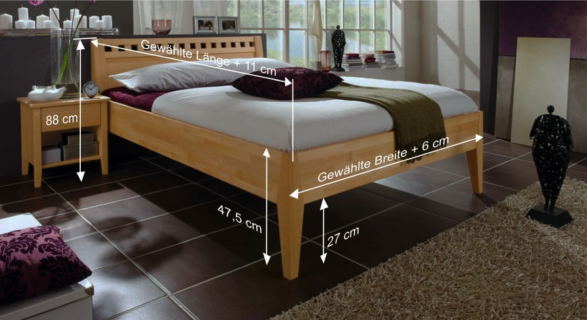 Massivholzbett aus buche biologisch ge lt triest for Bett 50 cm hoch