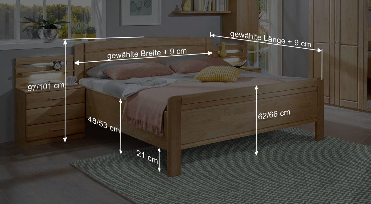 Bemaßungsgrafik zum Bett Trikomo