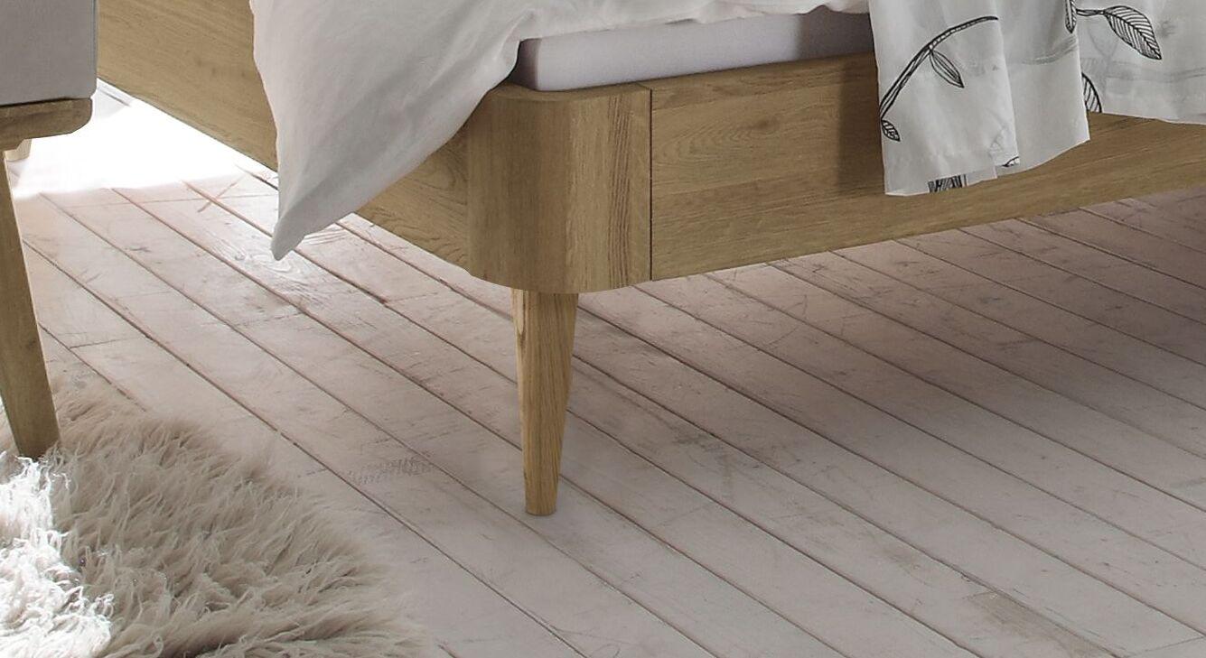 Bett Valente mit Eichenholz-Bettrahmen
