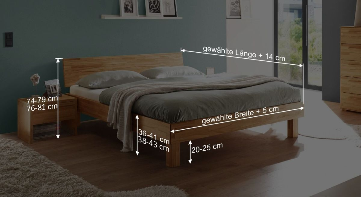 Bemaßungsgrafik zum Bett Varion