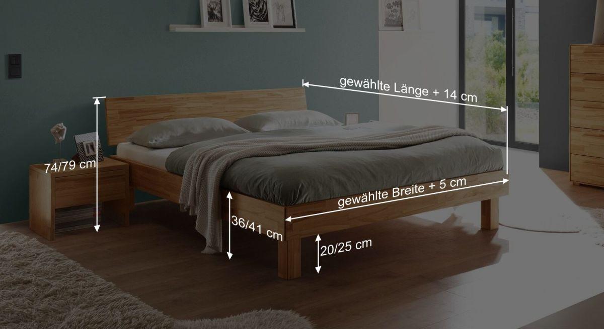 Bemaßungsgrafik vom Bett Varion