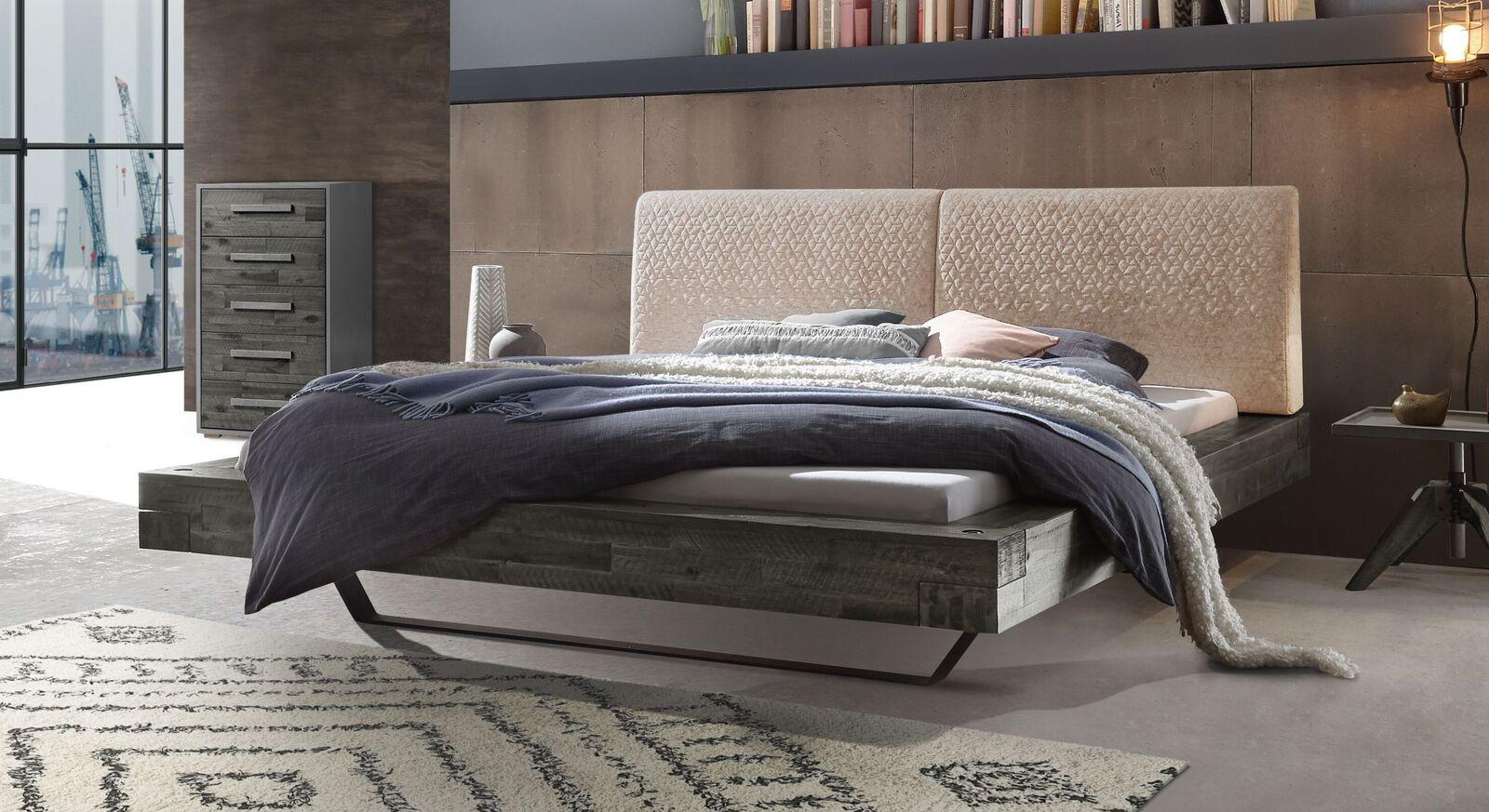 Bett Velario mit grauem Rahmen und cremefarbenem Kopfteil