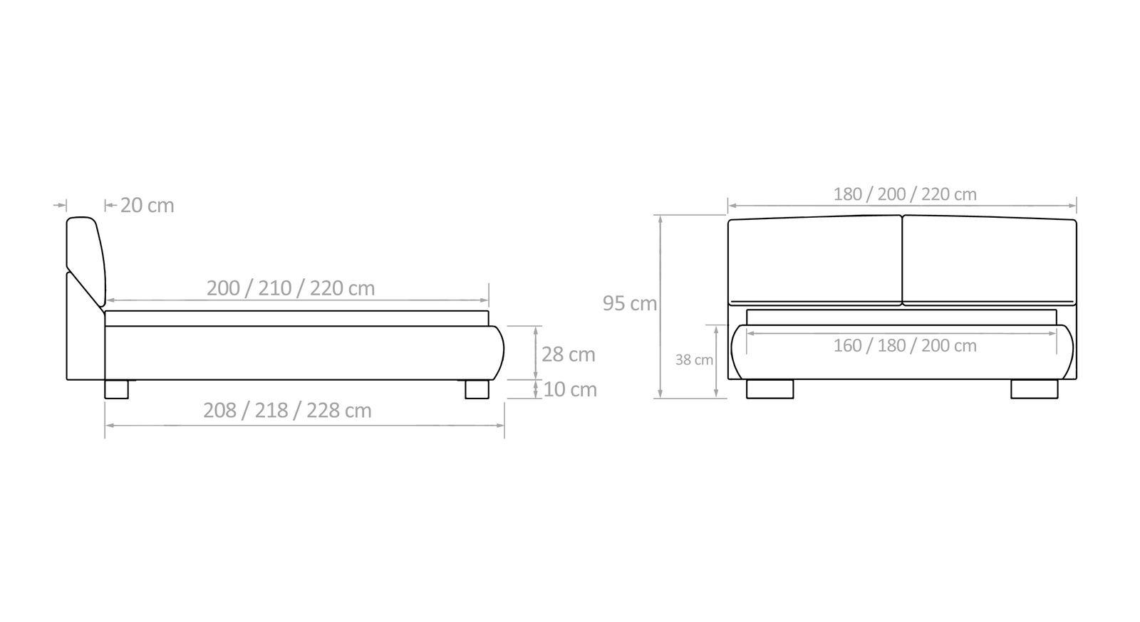 Maßskizze zu den Betten mit verstellbarem Kopfteil