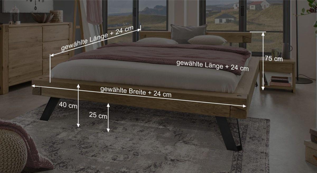 Bemaßungsgrafik zum Bett Vetralla