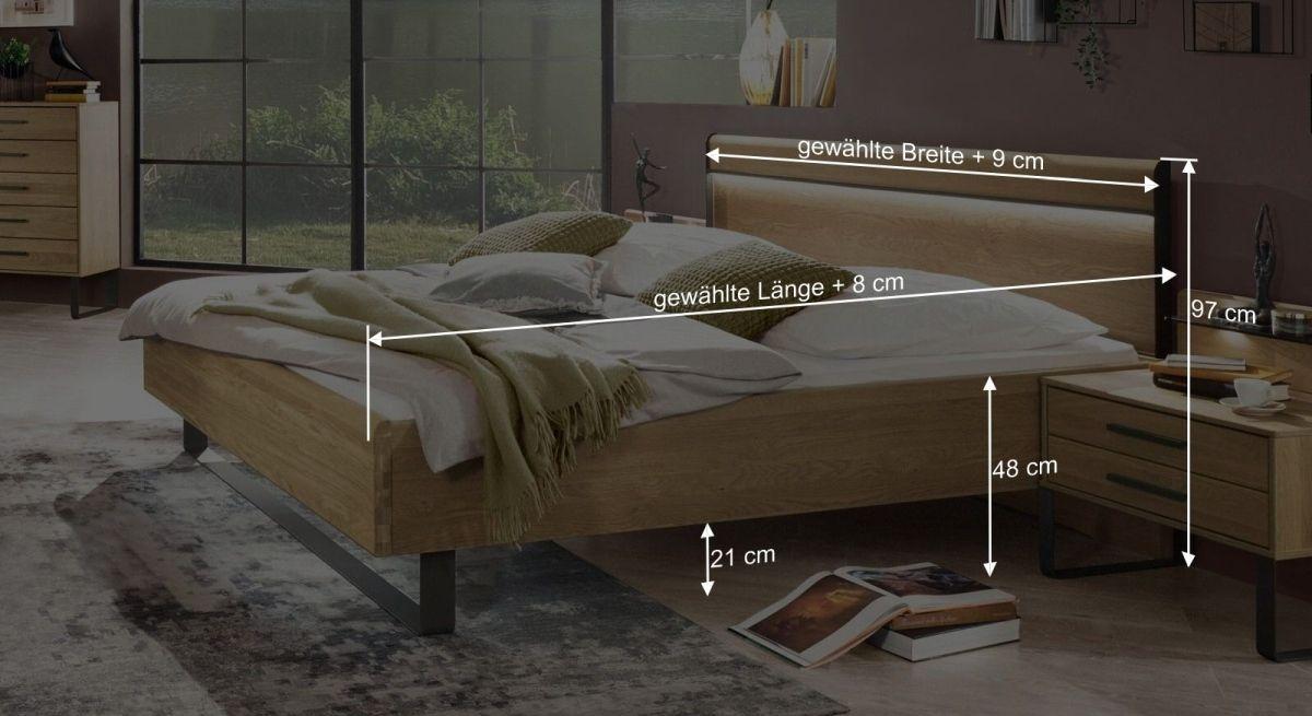 Bemaßungsgrafik zum Bett Vitoria