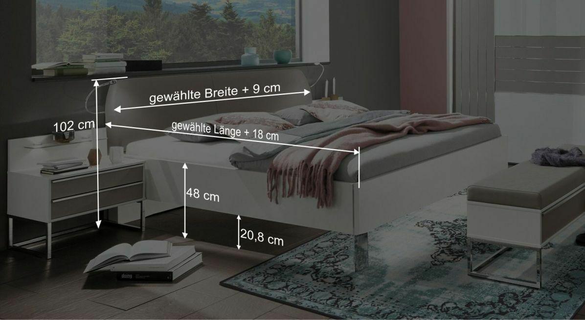Bemaßungsgrafik zum Bett Waterbury