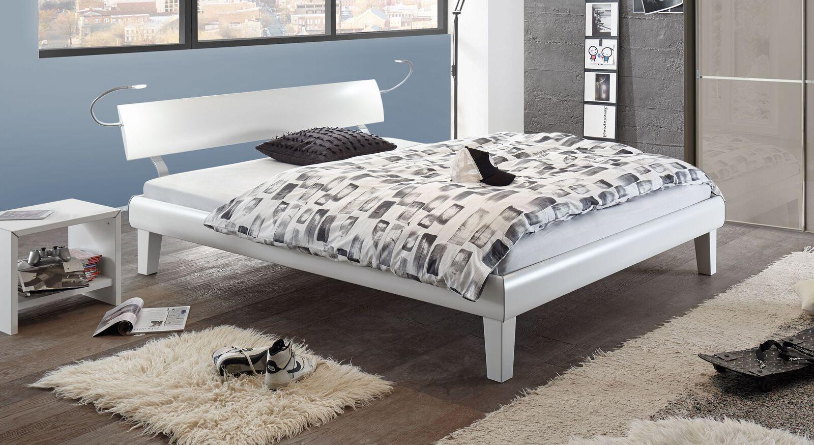 Preiswertes Bett Whiteway aus weißem Dekor