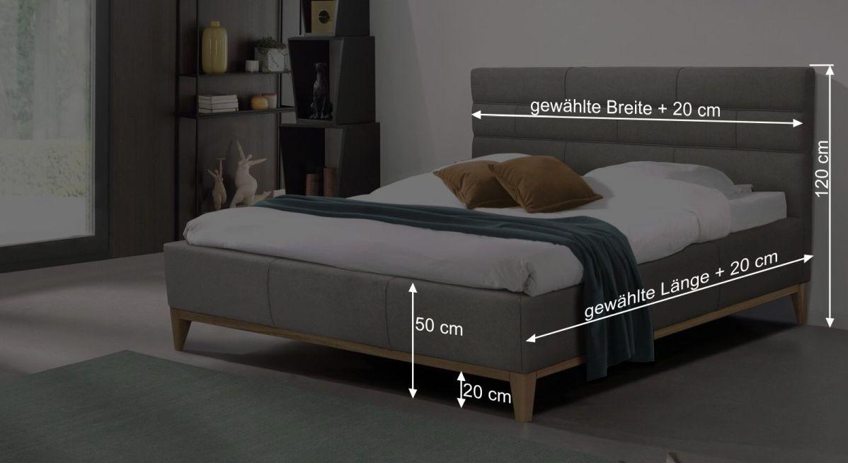 Bemaßungsgrafik zum Bett Wiarus