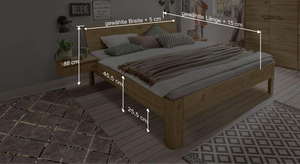 Bemaßungsgrafik zum Bett Wila
