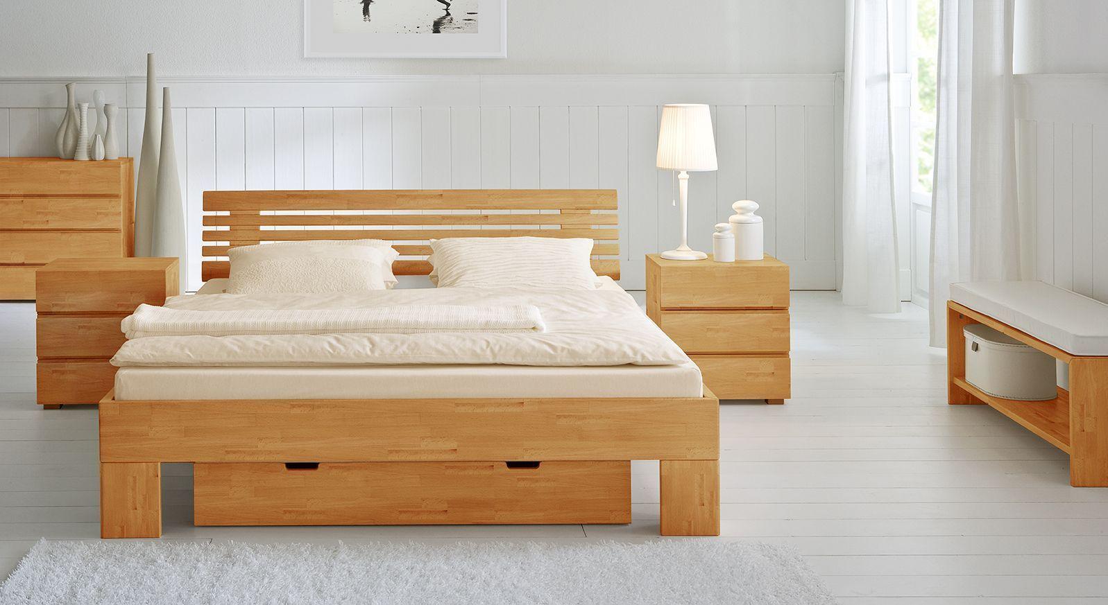 Doppelbett Bett Wood Romance in Buche natur