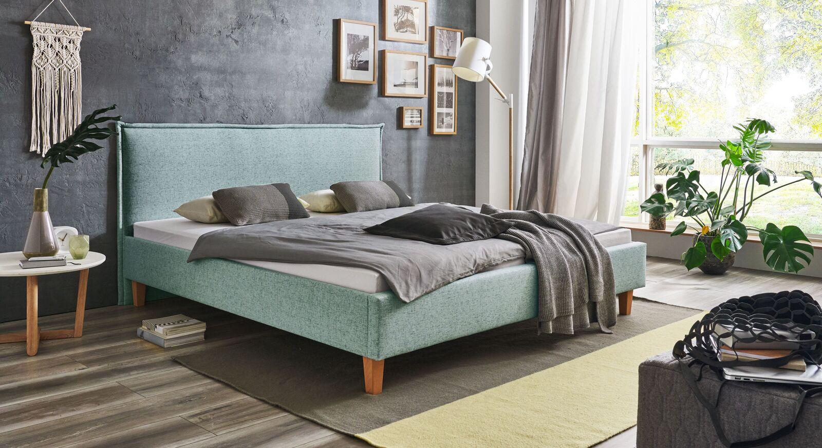 Bett Zibo mit Polsterung und stilvollem Webstoff