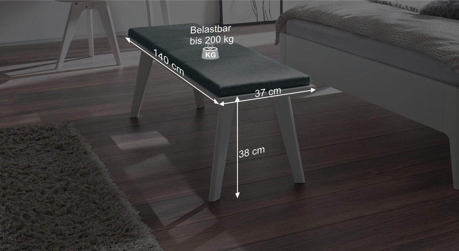 bettbank aus wei lackierter buche im mid century design narva. Black Bedroom Furniture Sets. Home Design Ideas