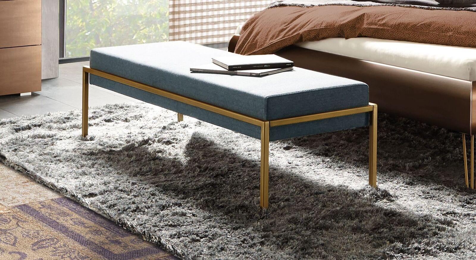 Bettbank Sirone mit blaugrauem Velours-Bezug
