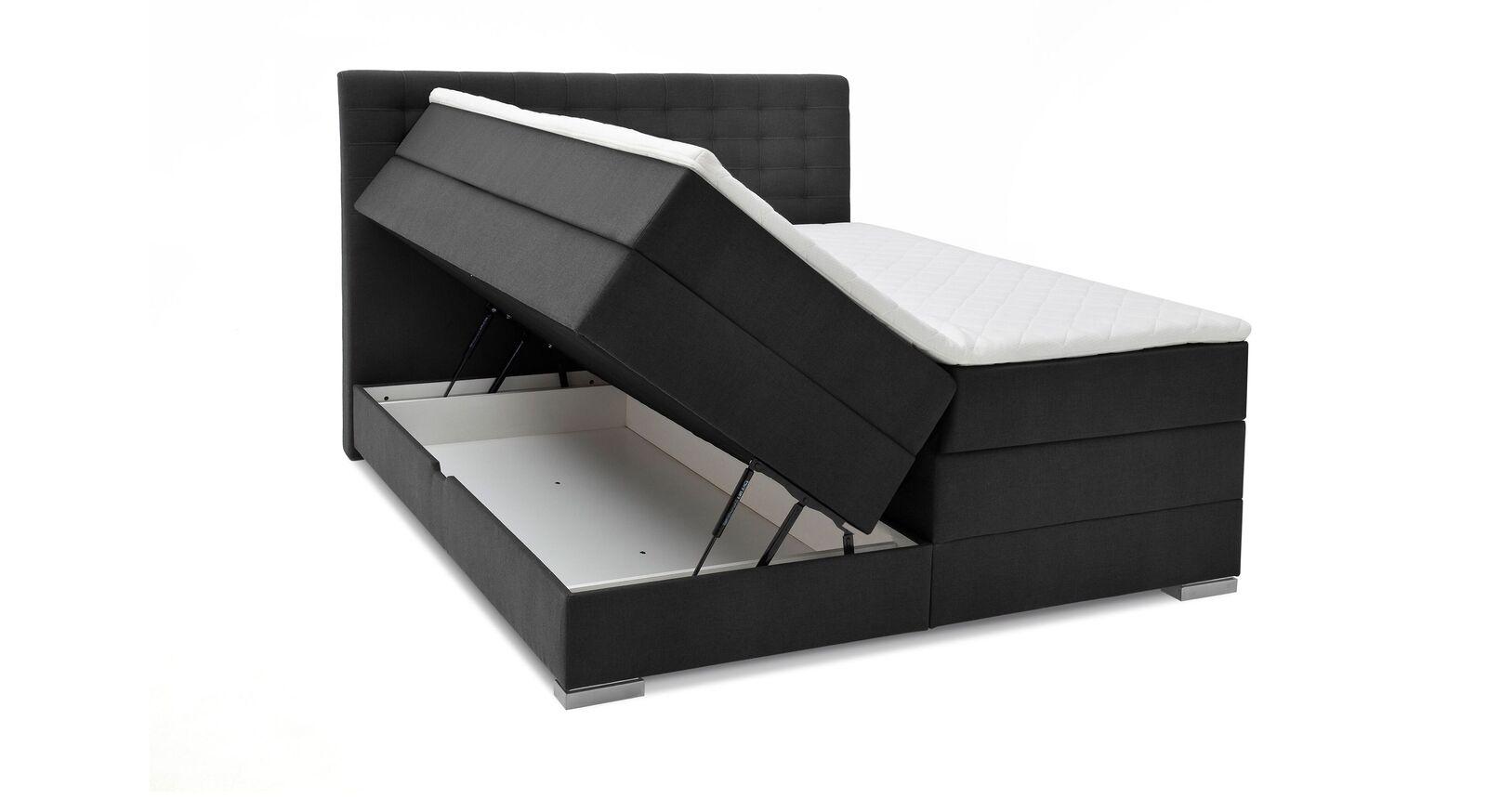 Bettkasten-Boxspringbett Agulo aus anthrazitfarbenem Velours-Webstoff