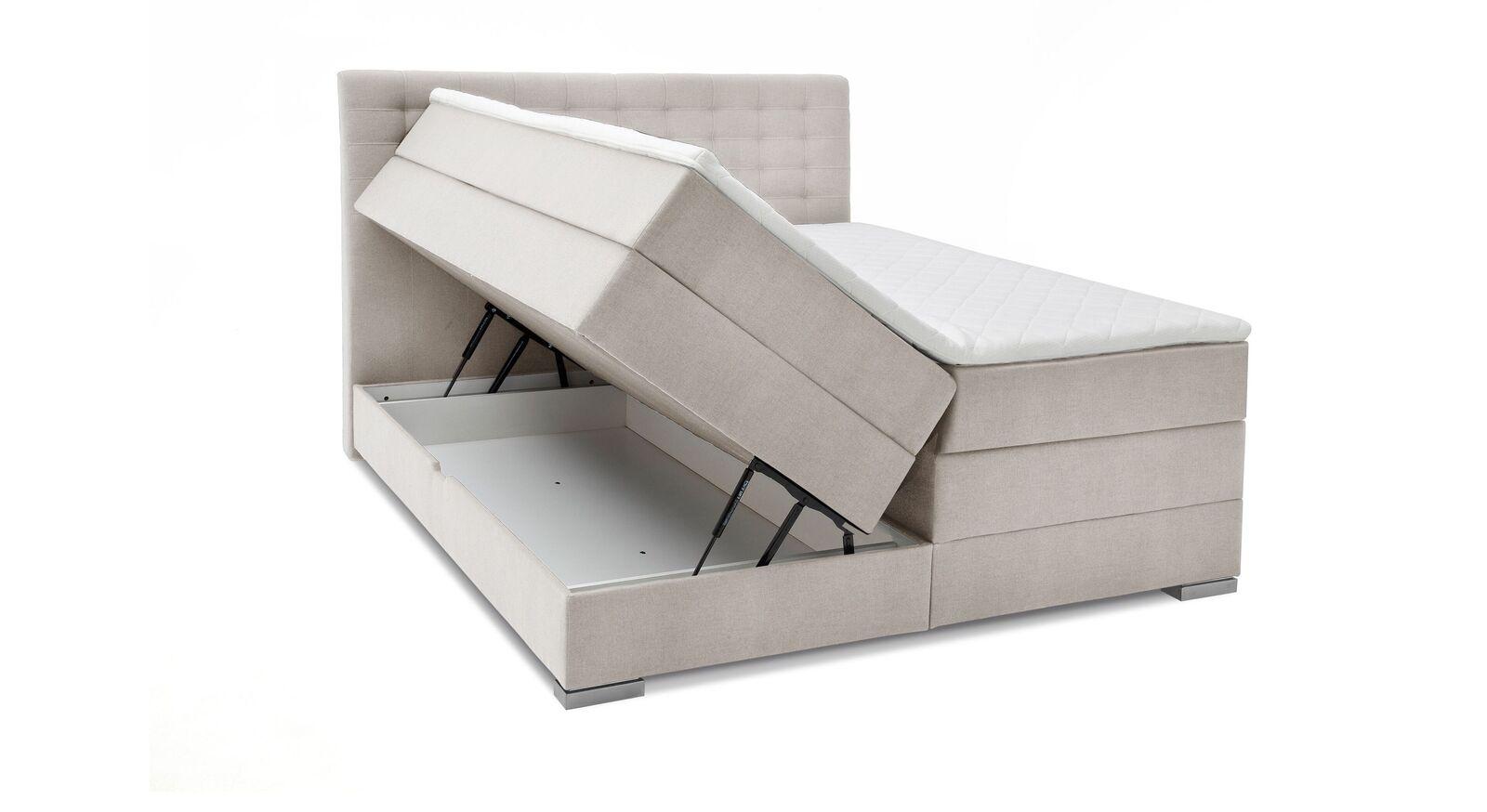 Bettkasten-Boxspringbett Agulo aus beigem Velours-Webstoff
