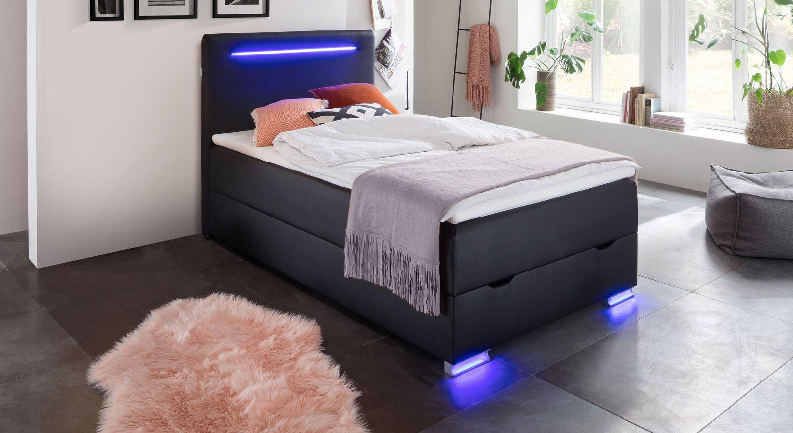 Modernes Bettkasten-Boxspringbett Andrik in 120 cm Breite